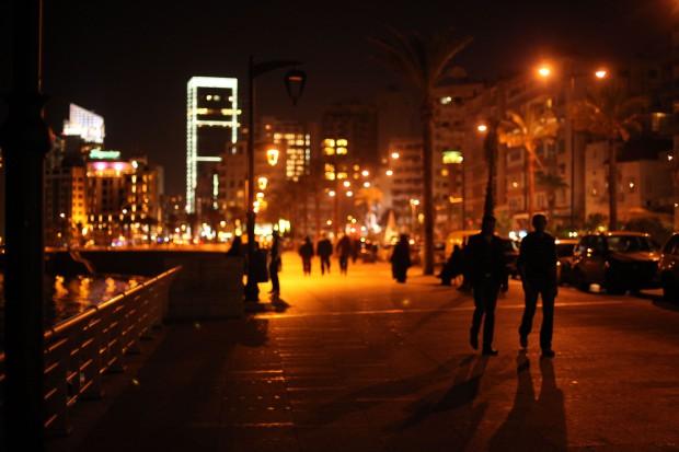 Beirut Corniche at night